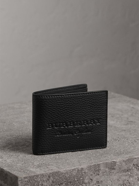 Textured Leather Bifold Wallet in Black