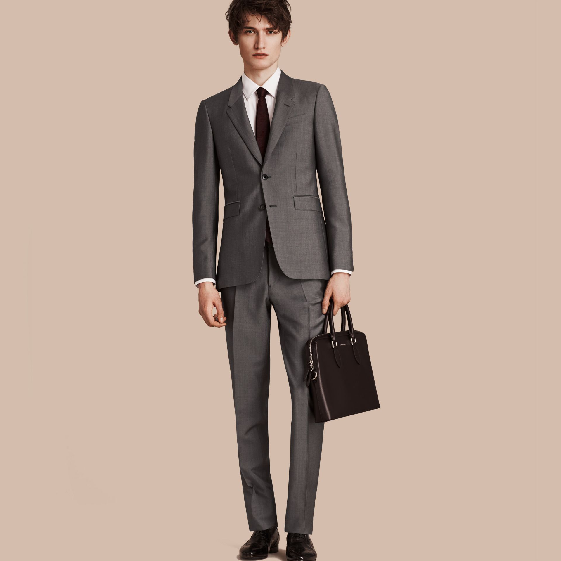 Mid grey The Chelsea – Slim Fit Wool Mohair Suit Mid Grey - gallery image 1