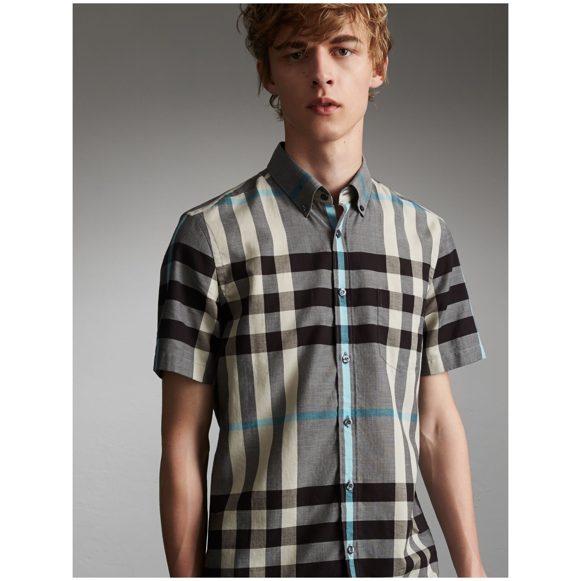 Button-down Collar Short-sleeve Check Cotton Shirt in Mist Grey - Men | Burberry - gallery image 1
