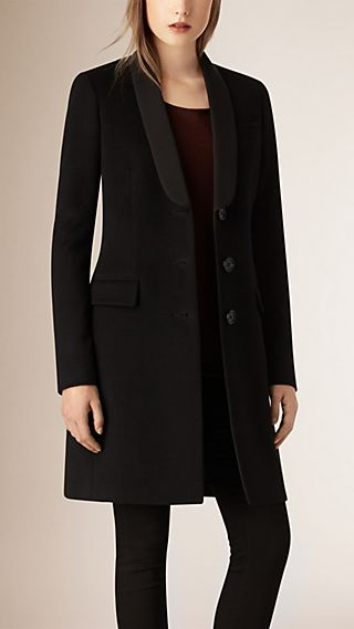 Bow Detail Wool Cashmere Tailored Coat