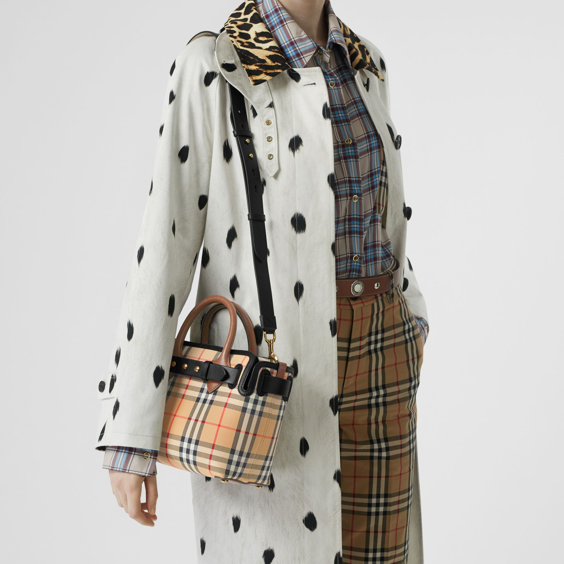 The Mini Vintage Check Triple Stud Belt Bag in Archive Beige - Women | Burberry Singapore - gallery image 2