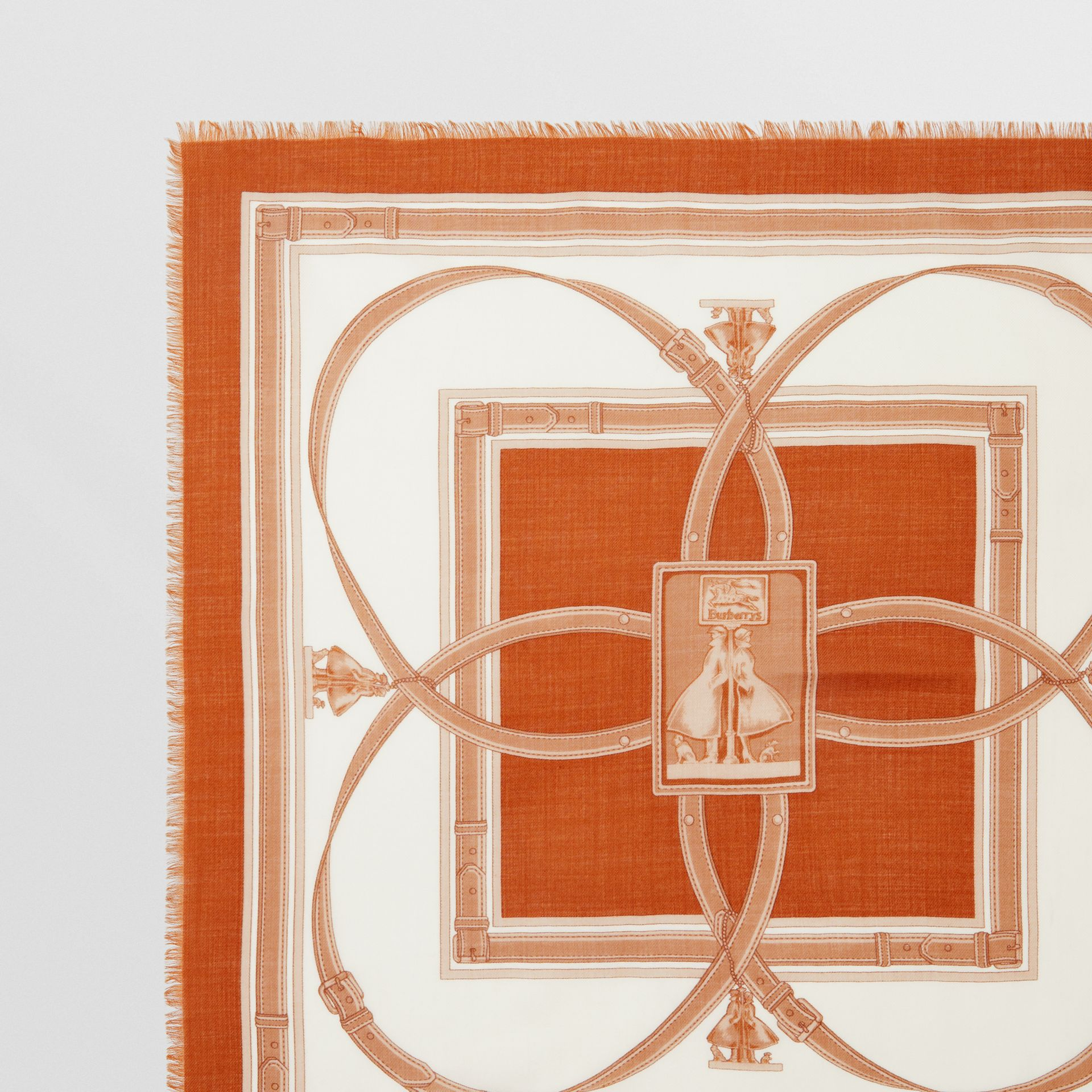 Archive Scarf Print Cashmere Large Square Scarf in Orange | Burberry United States - gallery image 1