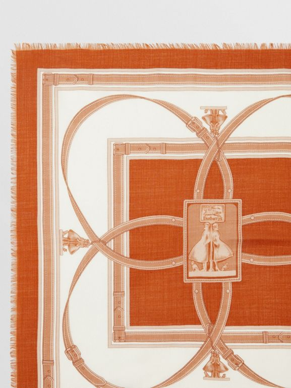 Archive Scarf Print Cashmere Large Square Scarf in Orange | Burberry United States - cell image 1