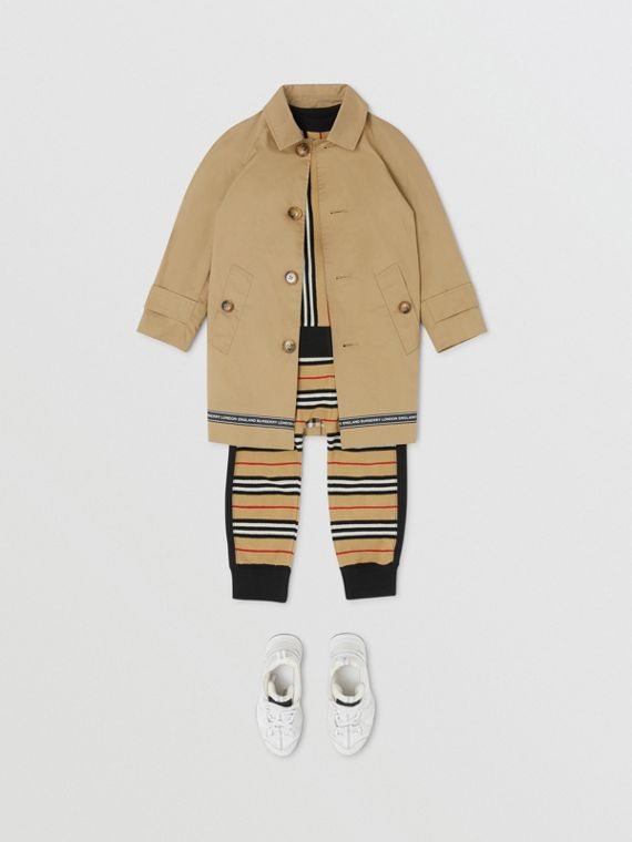 Logo Tape Cotton Car Coat in Honey