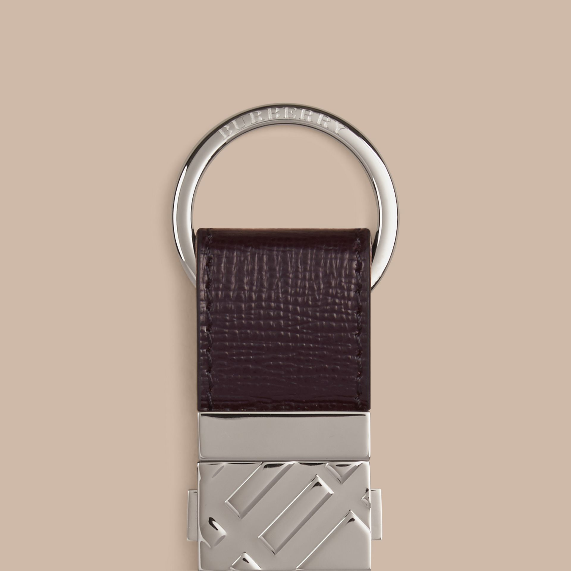 Wine London Leather Valet Key Ring Wine - gallery image 2