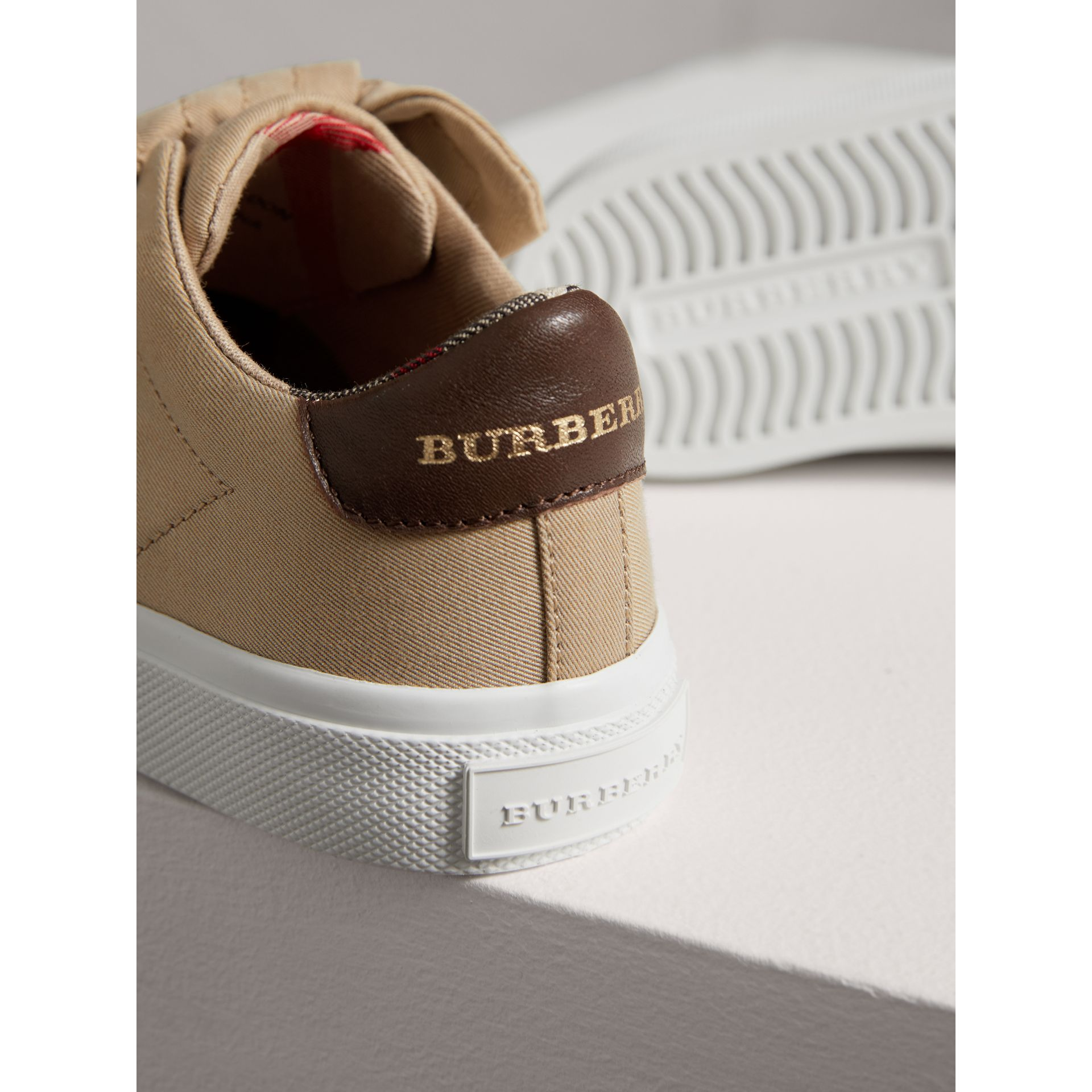 Trench Knot Cotton Gabardine Sneakers in Honey | Burberry - gallery image 1