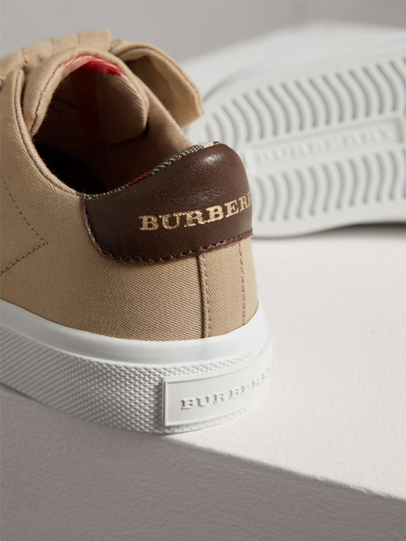 Trench Knot Cotton Gabardine Sneakers in Honey | Burberry - cell image 1