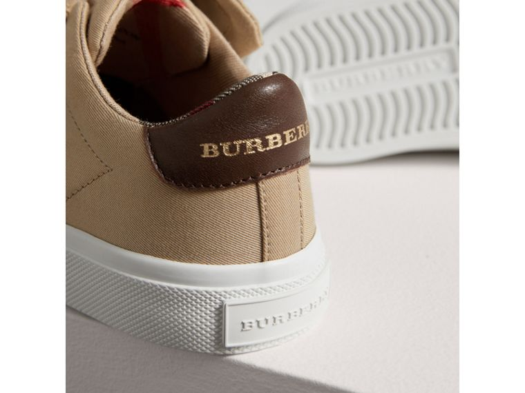 Trench Knot Cotton Gabardine Trainers in Honey | Burberry - cell image 1