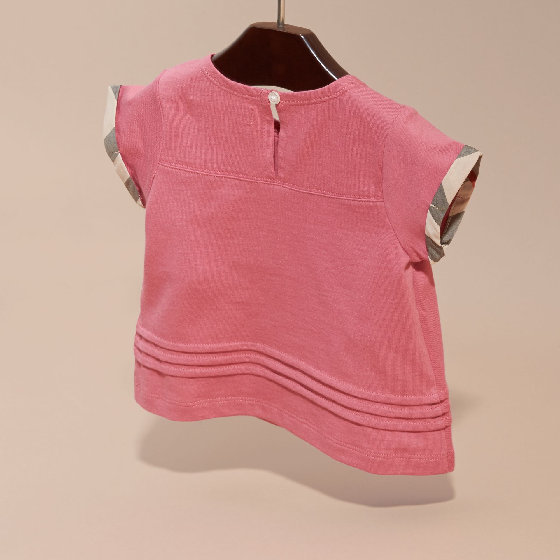 Check Trim Cotton T-shirt Pink Azalea - gallery image 4