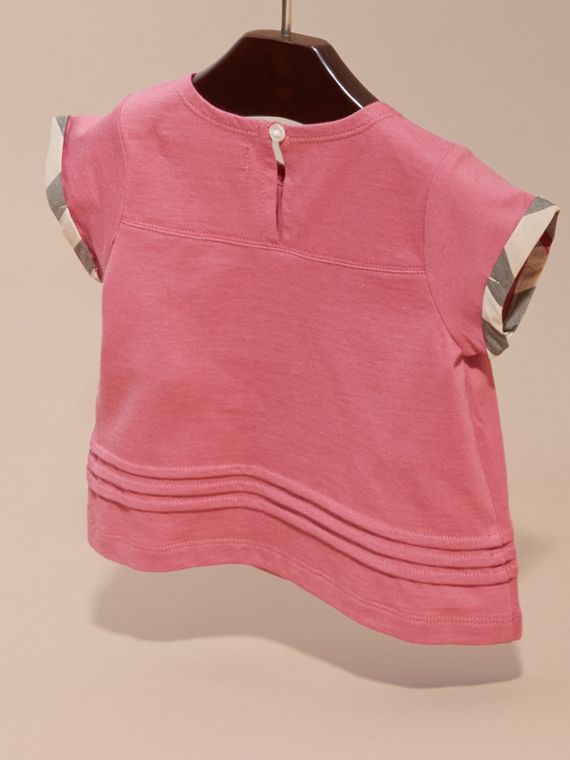 Pink azalea Check Trim Cotton T-shirt - cell image 3
