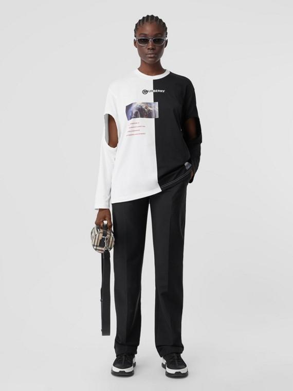 Camiseta extragrande en algodón con aberturas y estampado de montaje (Negro)
