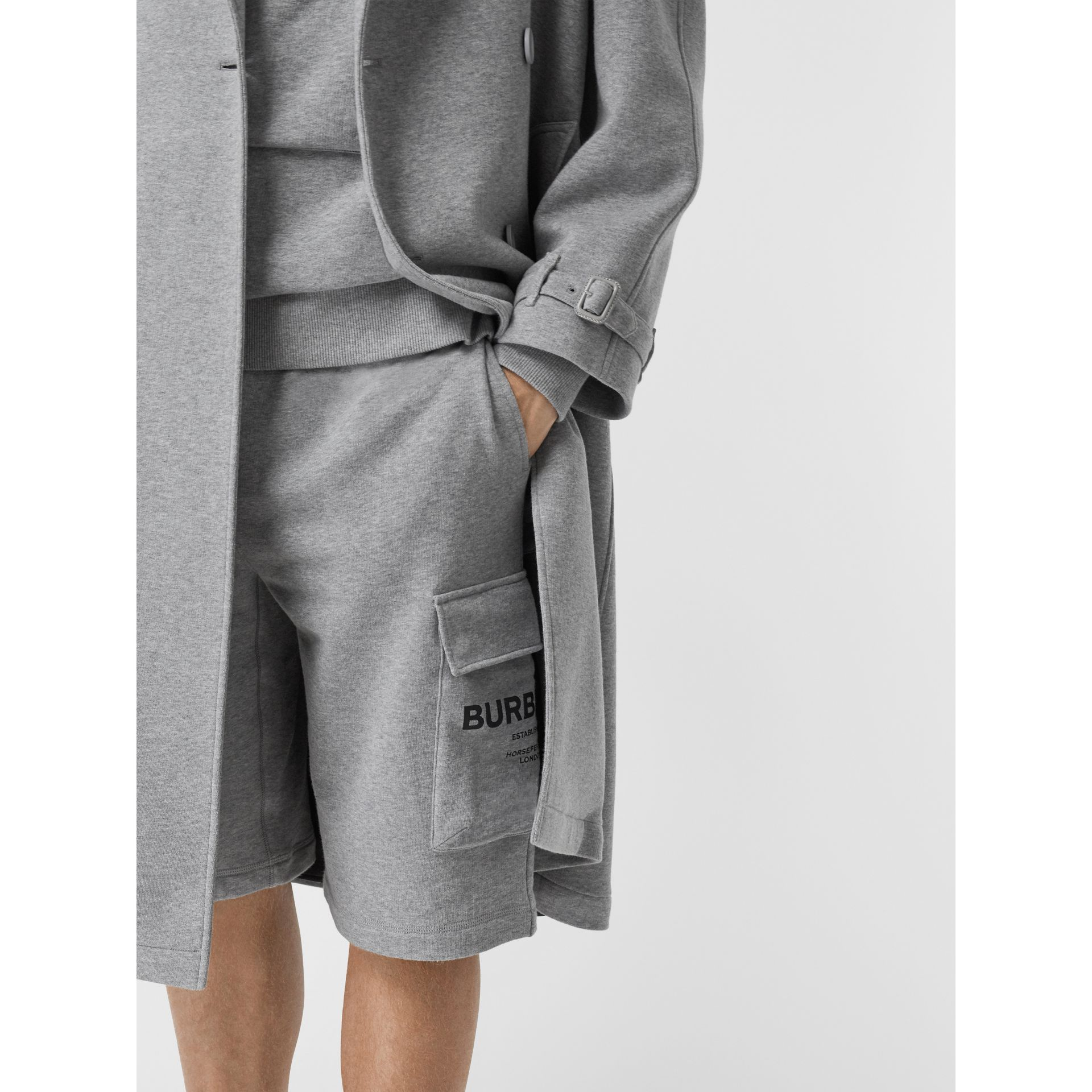 Cotton Jersey Trench Coat in Pale Grey Melange - Men | Burberry - gallery image 5