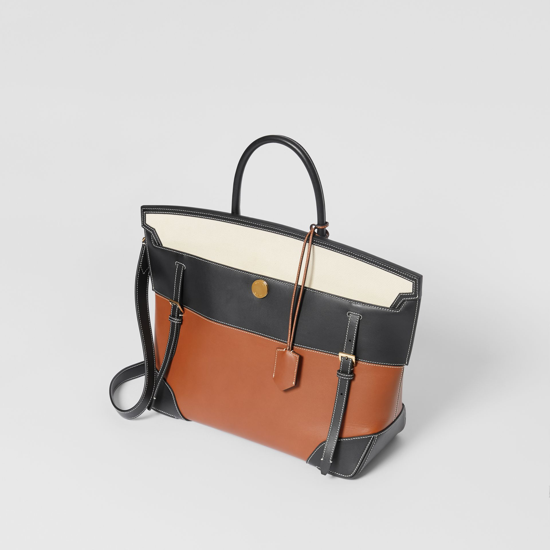 Tri-tone Leather and Canvas Society Top Handle Bag in Tan/black - Women | Burberry United States - gallery image 2