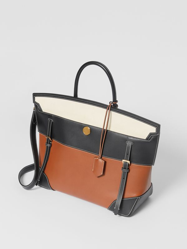 Tri-tone Leather and Canvas Society Top Handle Bag in Tan/black - Women | Burberry United States - cell image 2