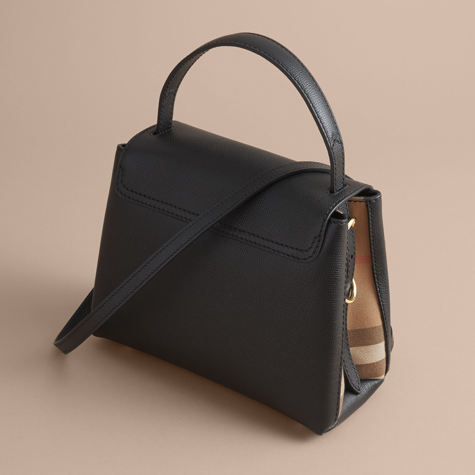 Small Grainy Leather and House Check Tote Bag Black - gallery image 5