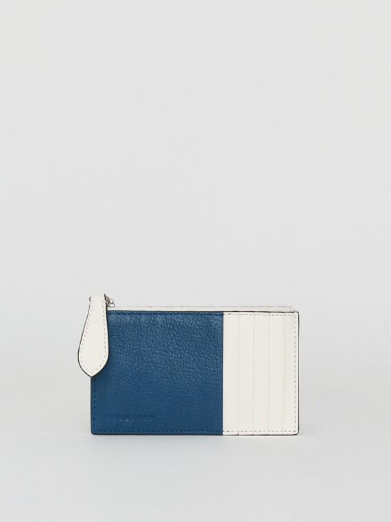 Porte-cartes zippé en cuir bicolore (Bleu Paon)