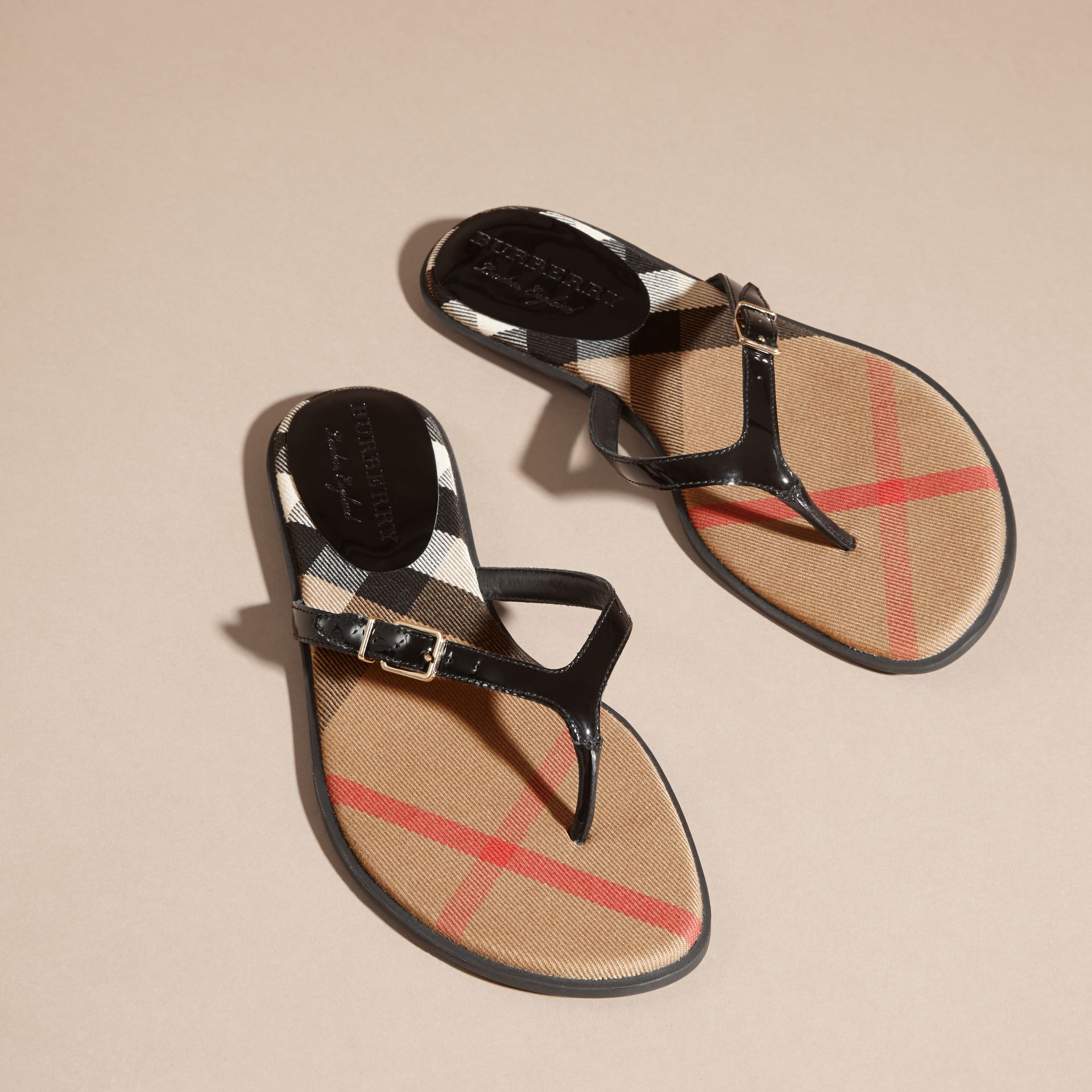 House Check and Patent Leather Sandals in Black - Women | Burberry - gallery image 3