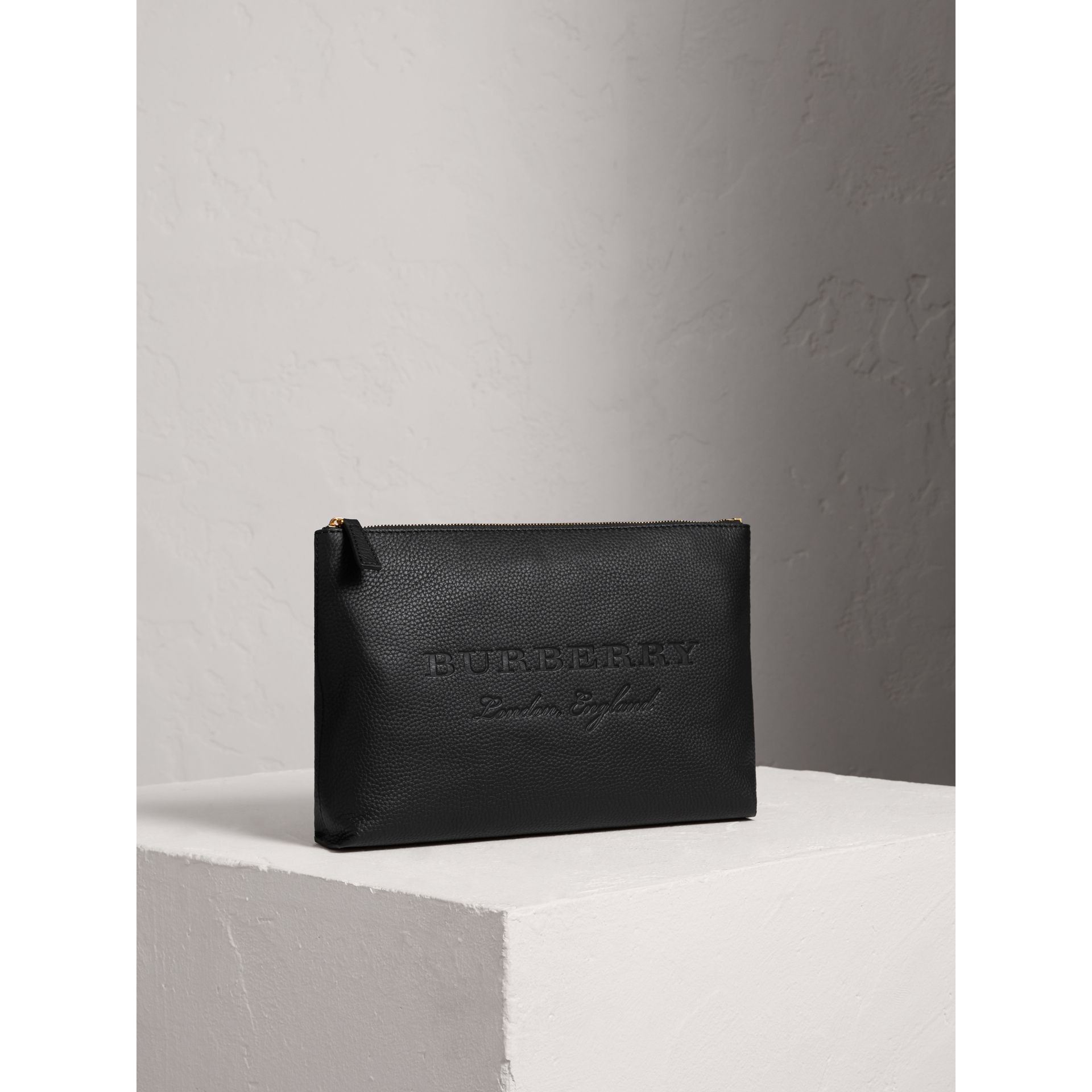 Large Embossed Leather Zip Pouch in Black | Burberry - gallery image 6