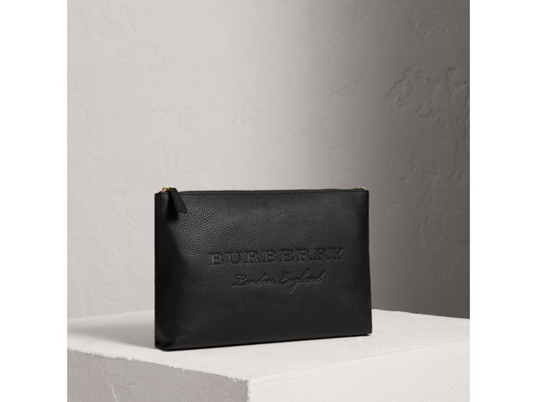 Large Embossed Leather Zip Pouch in Black | Burberry - cell image 4