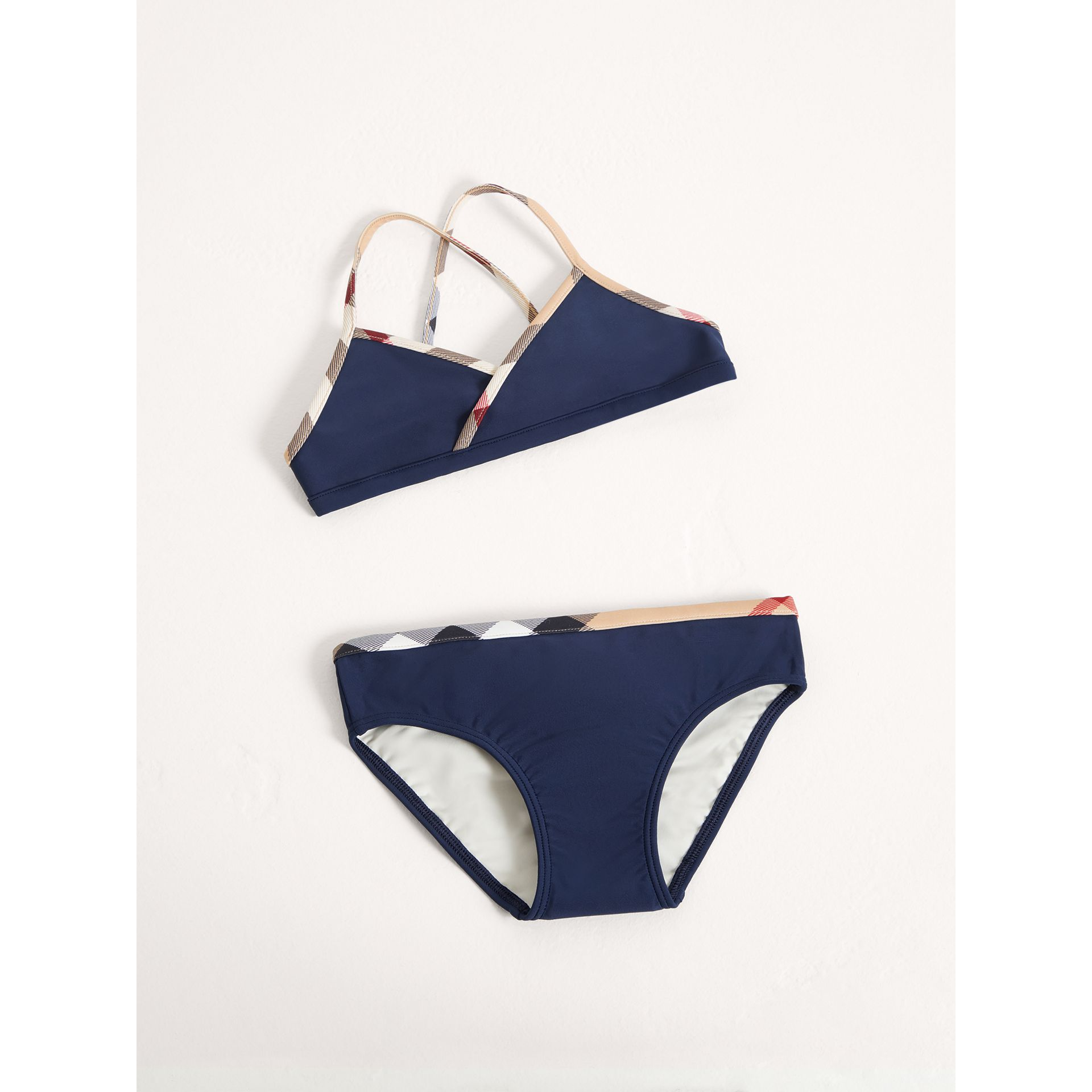Check Trim Bikini in Navy - Girl | Burberry United States - gallery image 0