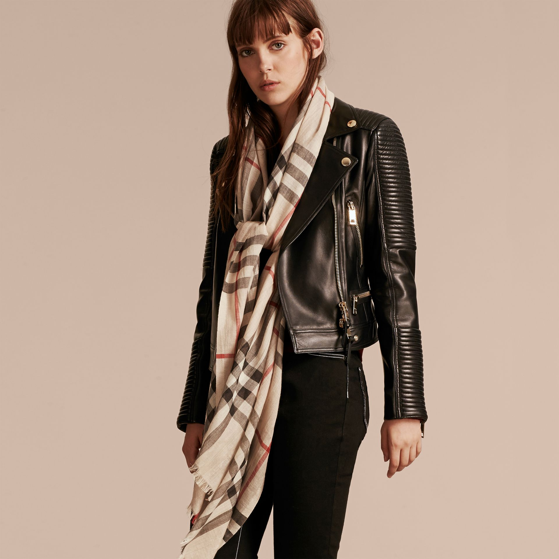 Lightweight Check Wool and Silk Scarf in Stone | Burberry - gallery image 3