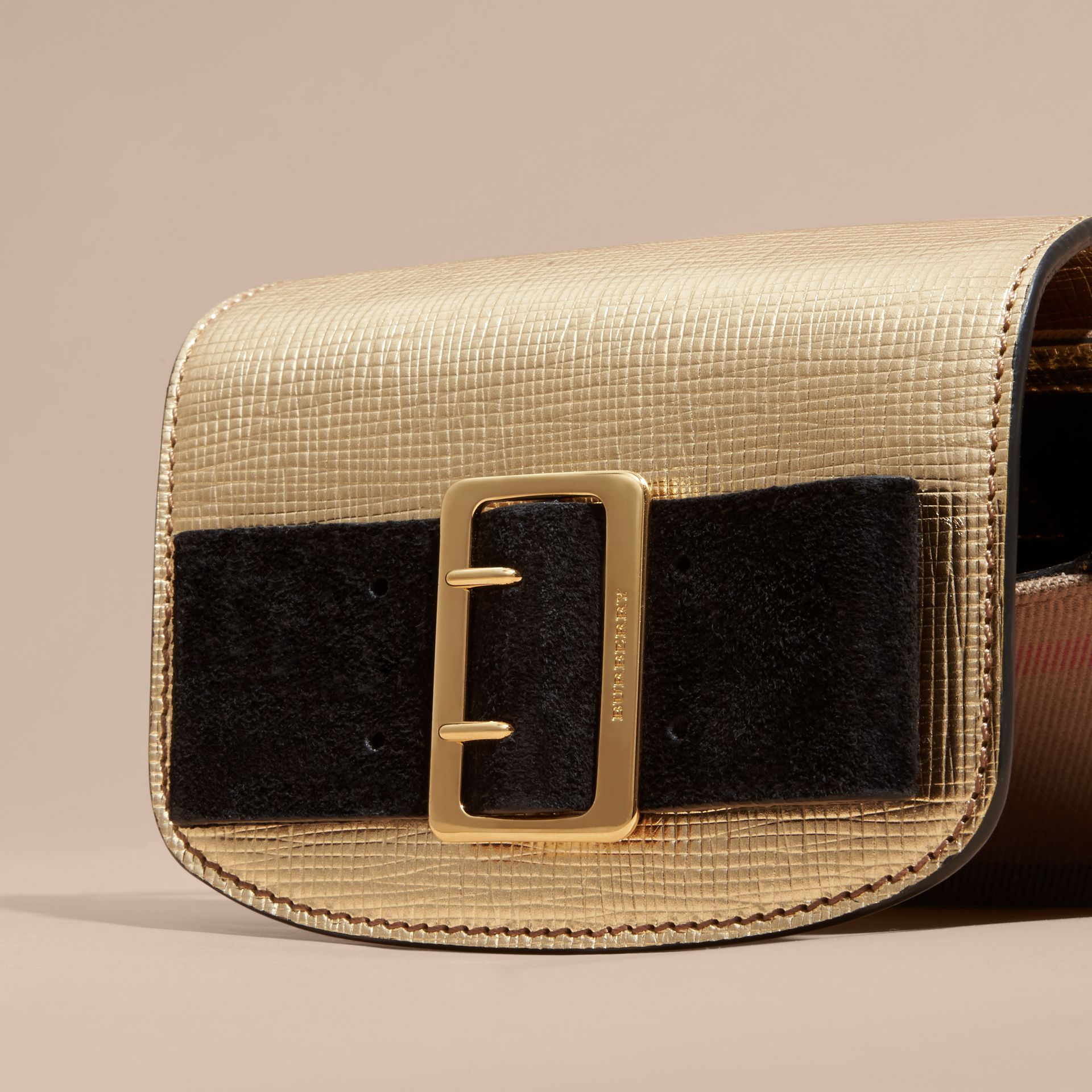 Gold Buckled Bow Metallic Leather Crossbody Bag - gallery image 2