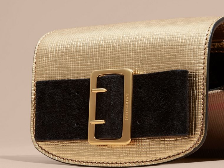 Gold Buckled Bow Metallic Leather Crossbody Bag - cell image 1