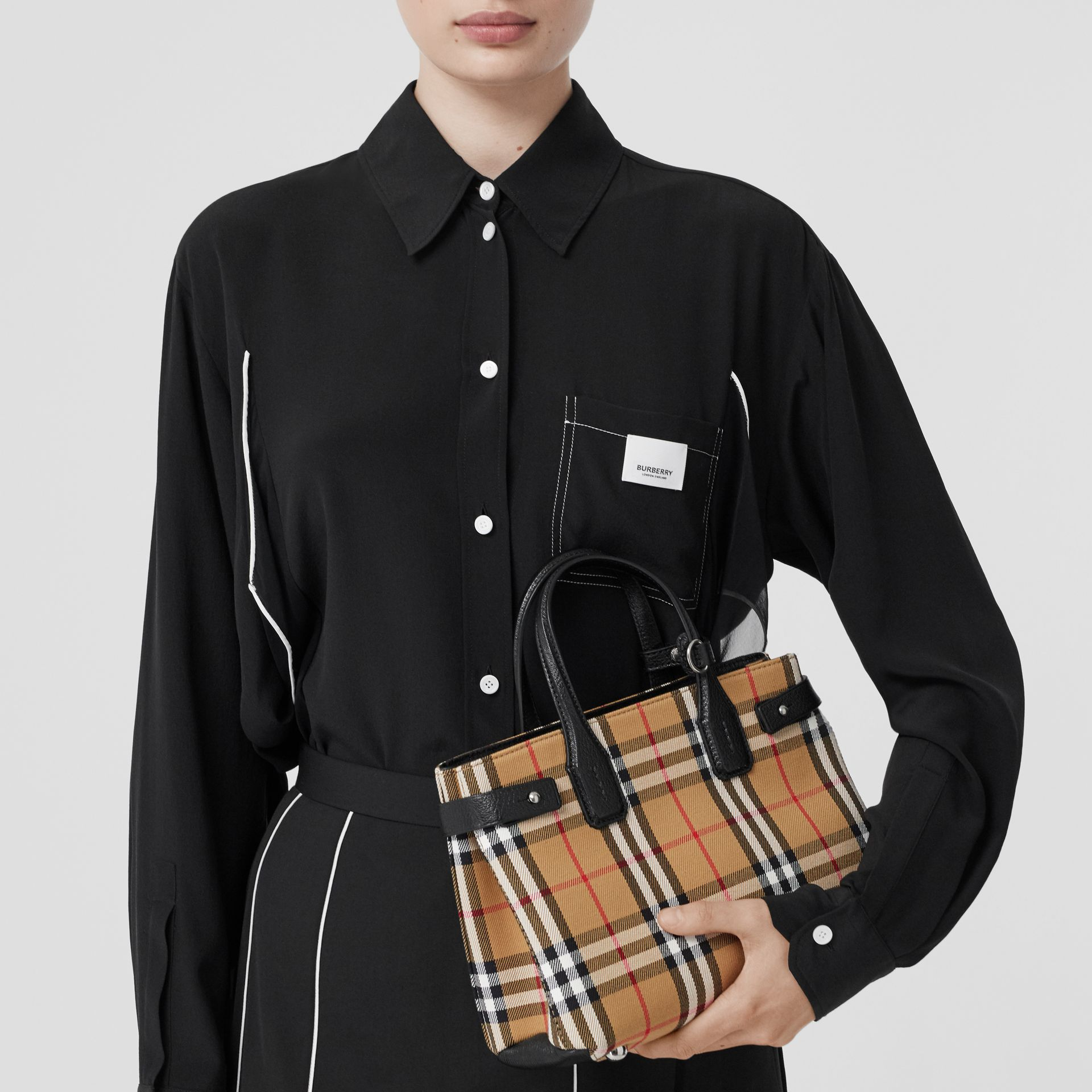 The Small Banner in Vintage Check and Leather in Black - Women | Burberry Canada - gallery image 2