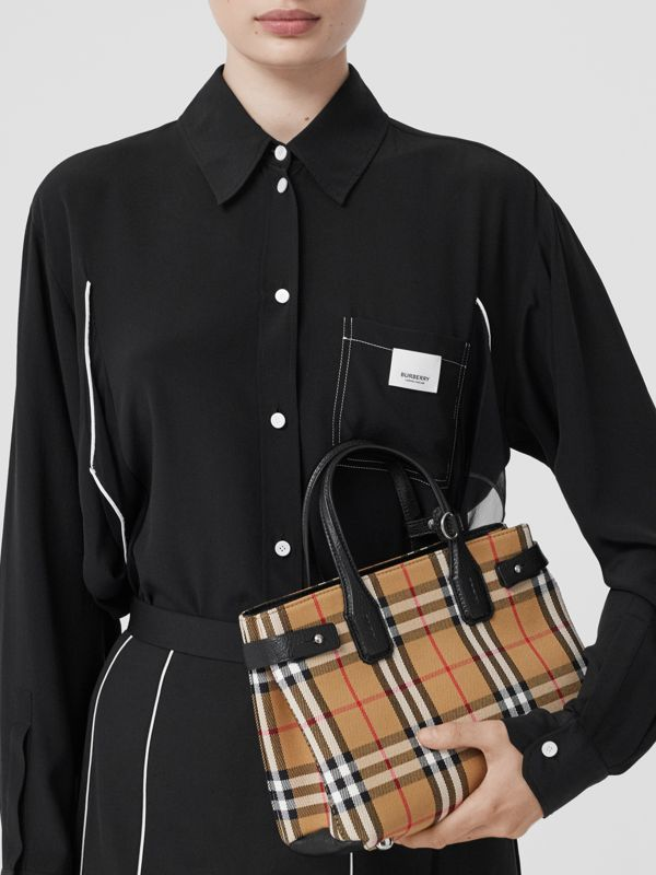 The Small Banner in Vintage Check and Leather in Black - Women | Burberry Canada - cell image 2