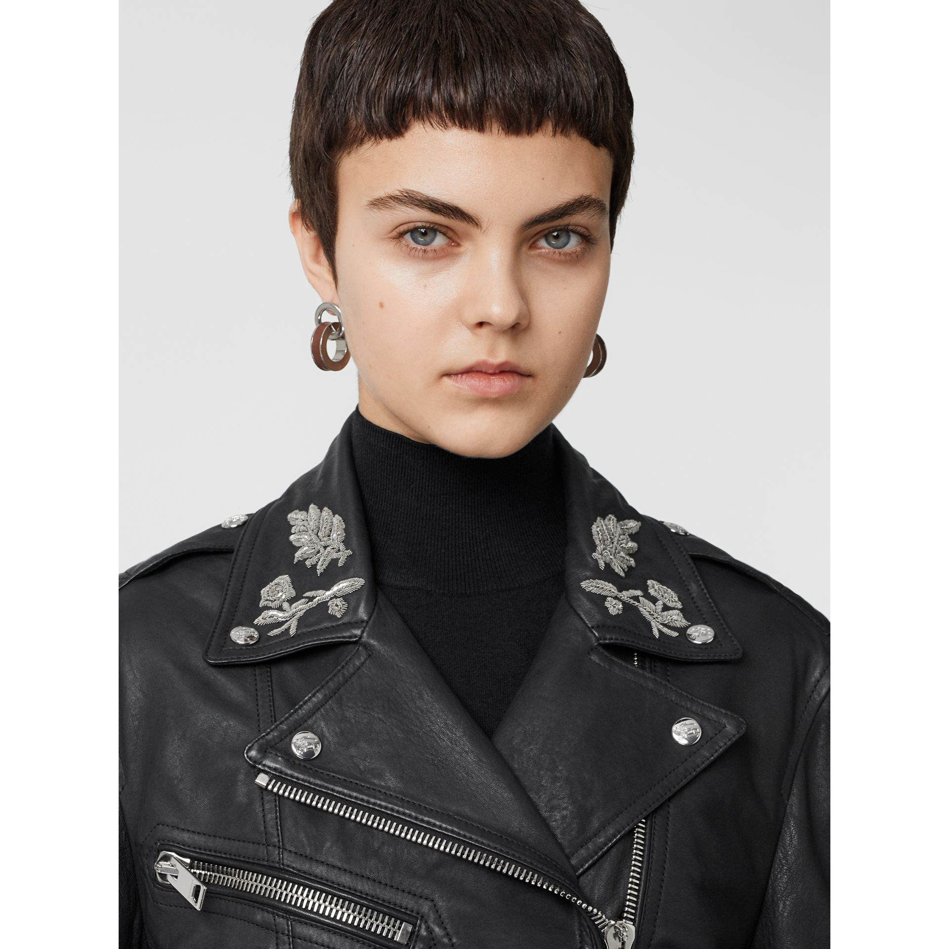 Bullion Floral Lambskin Biker Jacket in Black - Women | Burberry Singapore - gallery image 1