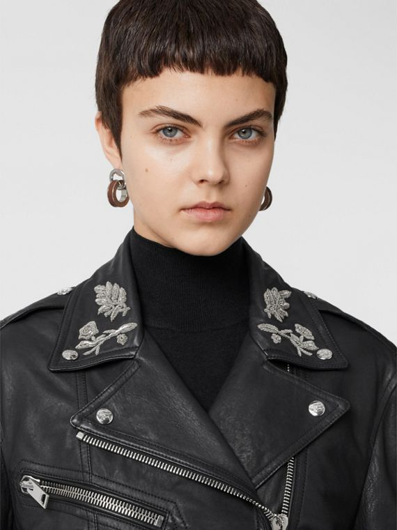 Bullion Floral Lambskin Biker Jacket in Black