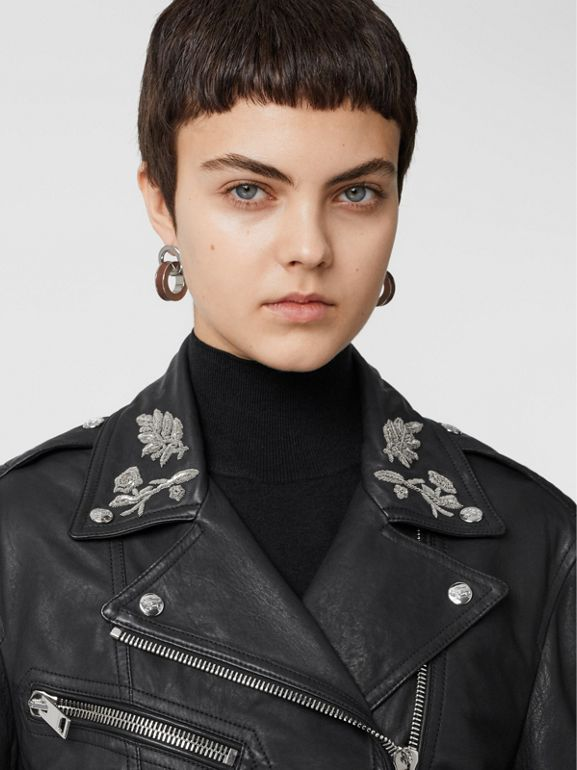 Bullion Floral Lambskin Biker Jacket in Black - Women | Burberry - cell image 1