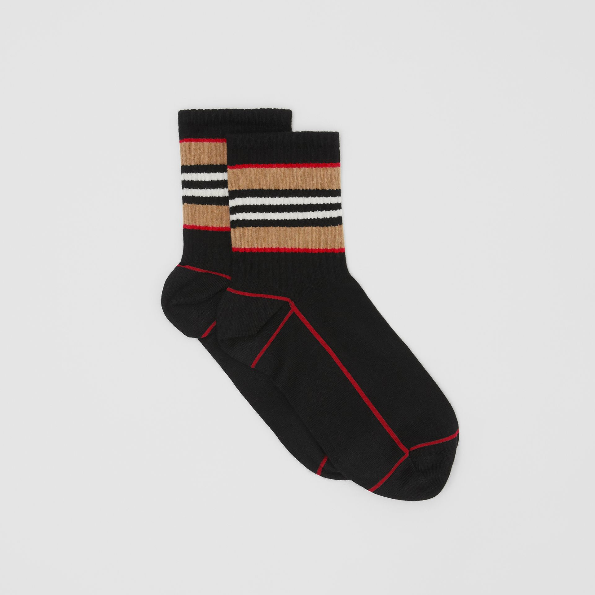 Icon Stripe Intarsia Cotton Blend Ankle Socks in Black | Burberry - gallery image 2