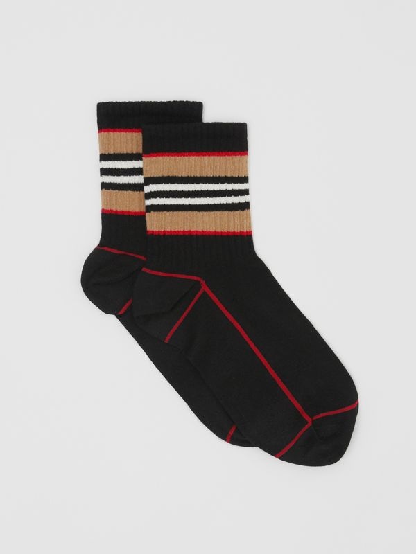 Icon Stripe Intarsia Cotton Blend Ankle Socks in Black | Burberry - cell image 2
