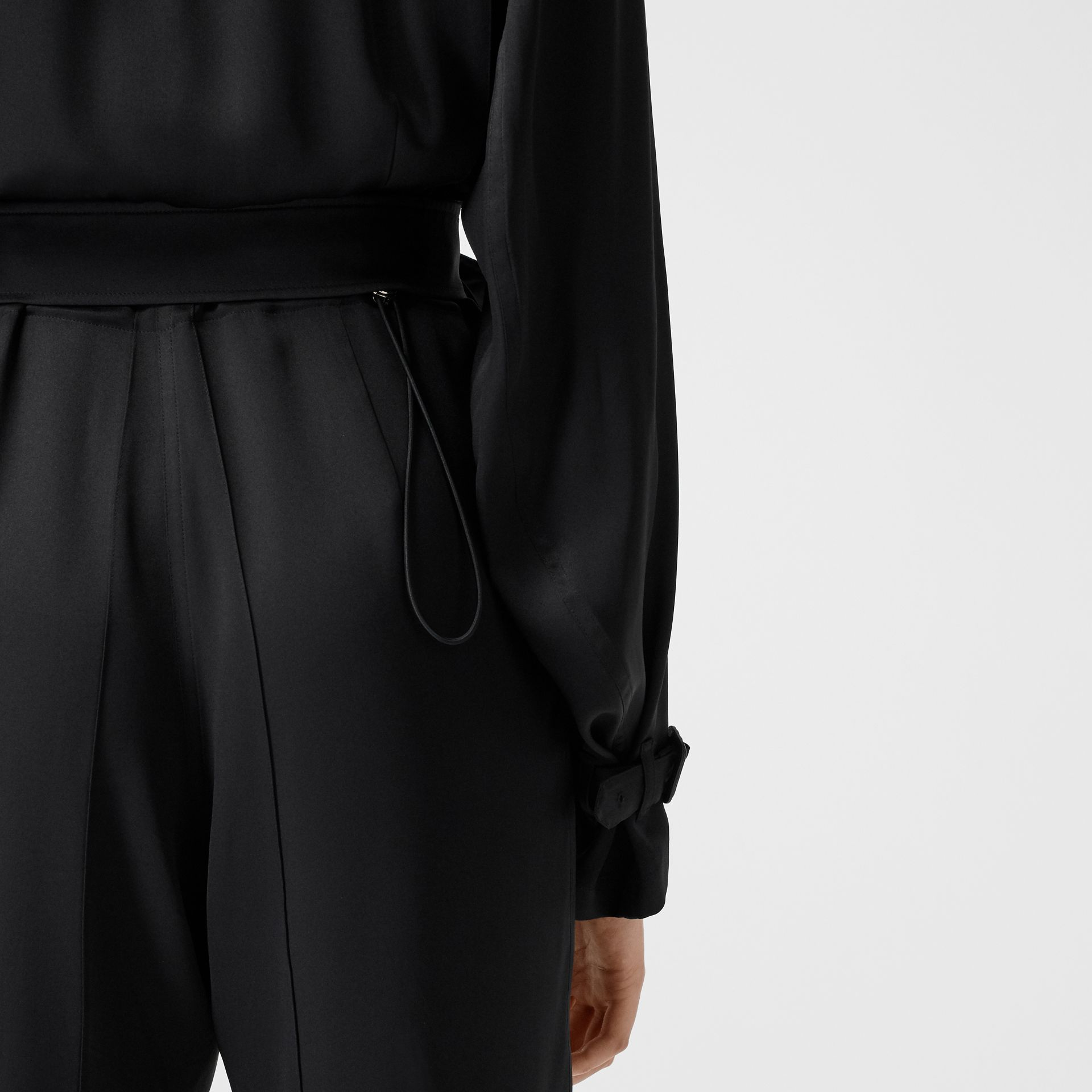 Silk Satin Jumpsuit in Black - Women | Burberry - gallery image 5