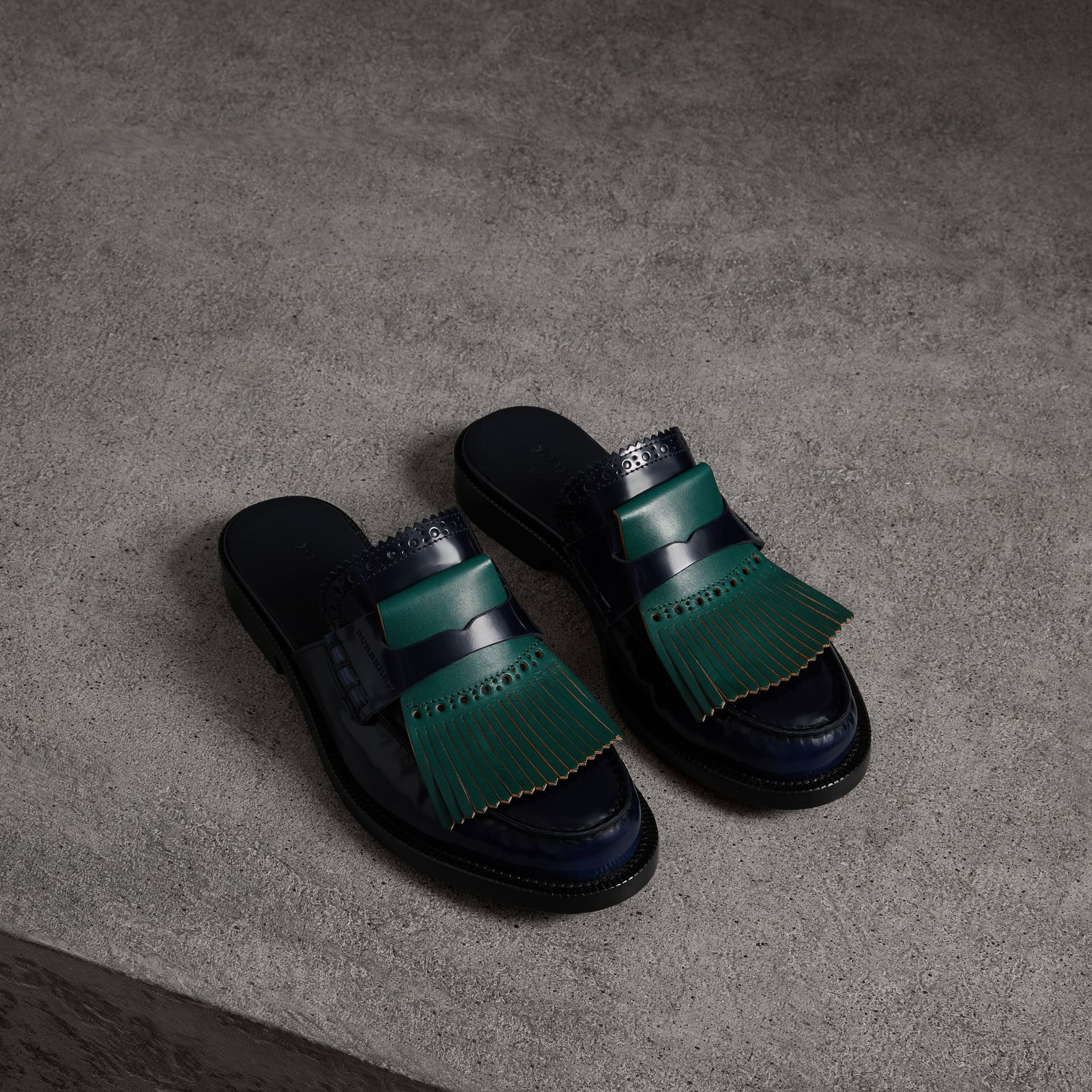 Contrast Kiltie Fringe Leather Mules in Navy - Women | Burberry - gallery image 0