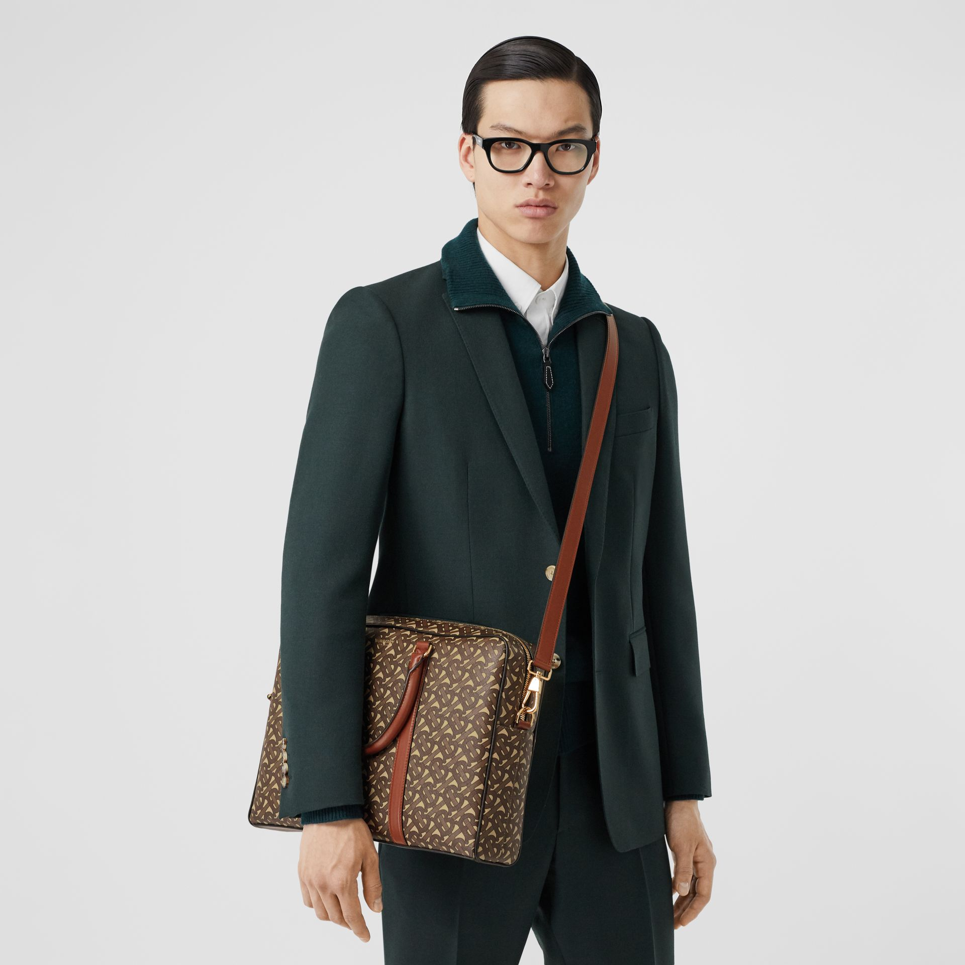 Monogram Print E-canvas and Leather Briefcase in Bridle Brown - Men | Burberry - gallery image 2