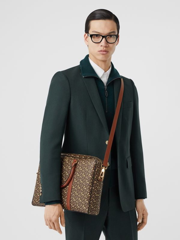 Monogram Print E-canvas and Leather Briefcase in Bridle Brown - Men | Burberry - cell image 2