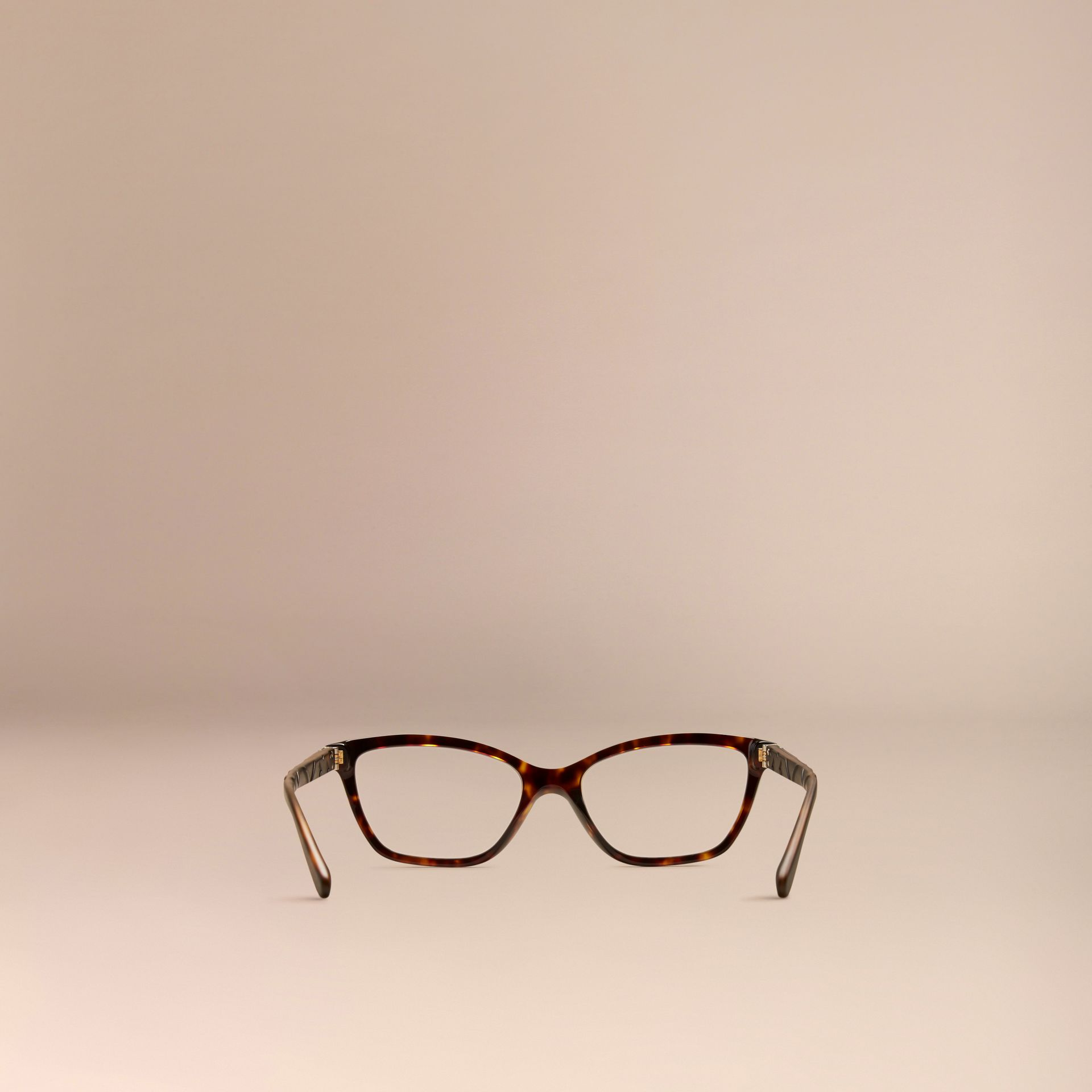 Tortoiseshell Check Detail Cat-eye Optical Frames Tortoiseshell - gallery image 3