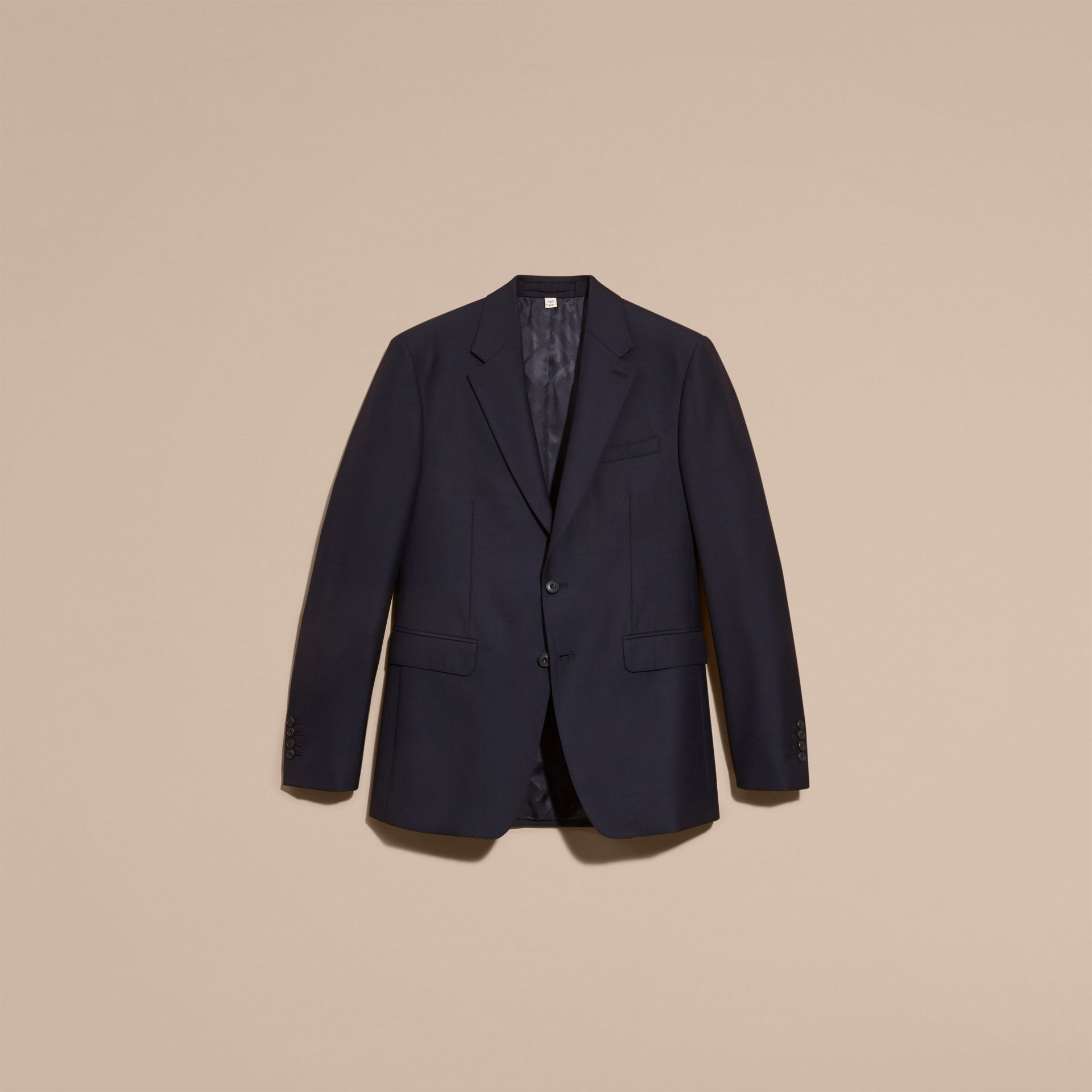 Navy Classic Fit Wool Part-canvas Suit Navy - gallery image 4