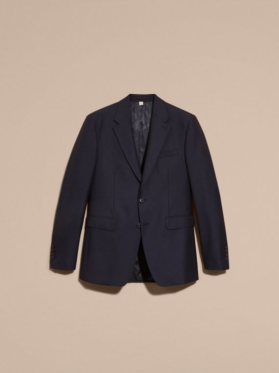 Navy Classic Fit Wool Part-canvas Suit Navy - cell image 3