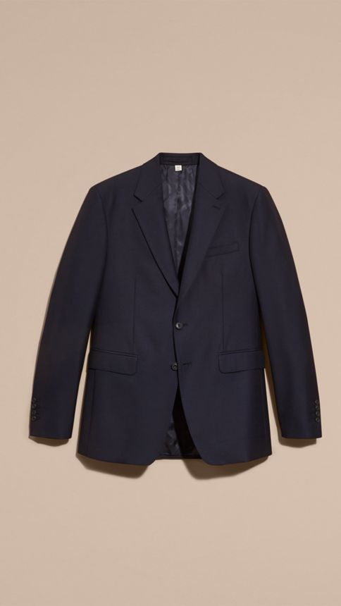 Navy Classic Fit Wool Part-canvas Suit Navy - Image 4