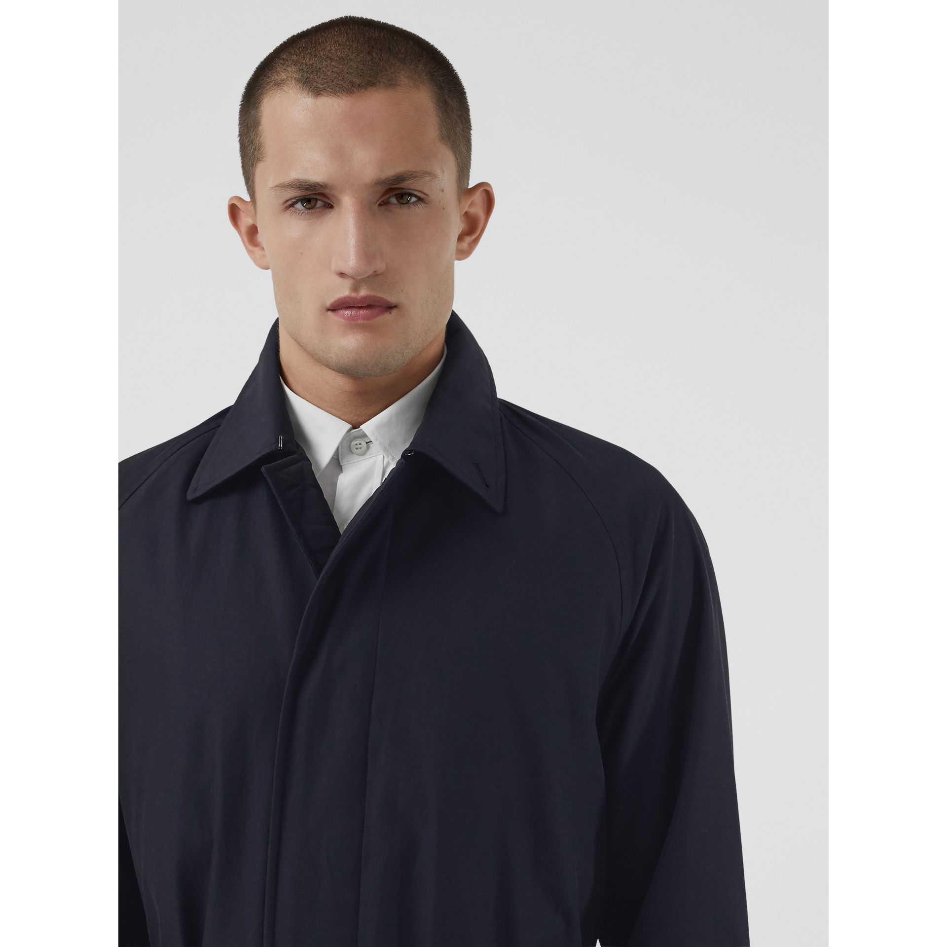 Quilt-lined Tropical Gabardine Belted Car Coat in Blue Carbon - Men | Burberry Singapore - gallery image 1