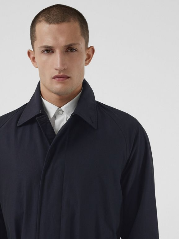 Quilt-lined Tropical Gabardine Belted Car Coat in Blue Carbon - Men | Burberry - cell image 1
