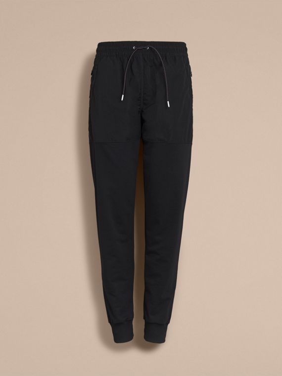 Sport Panel Cotton Blend Sweatpants in Black - Men | Burberry United Kingdom - cell image 3