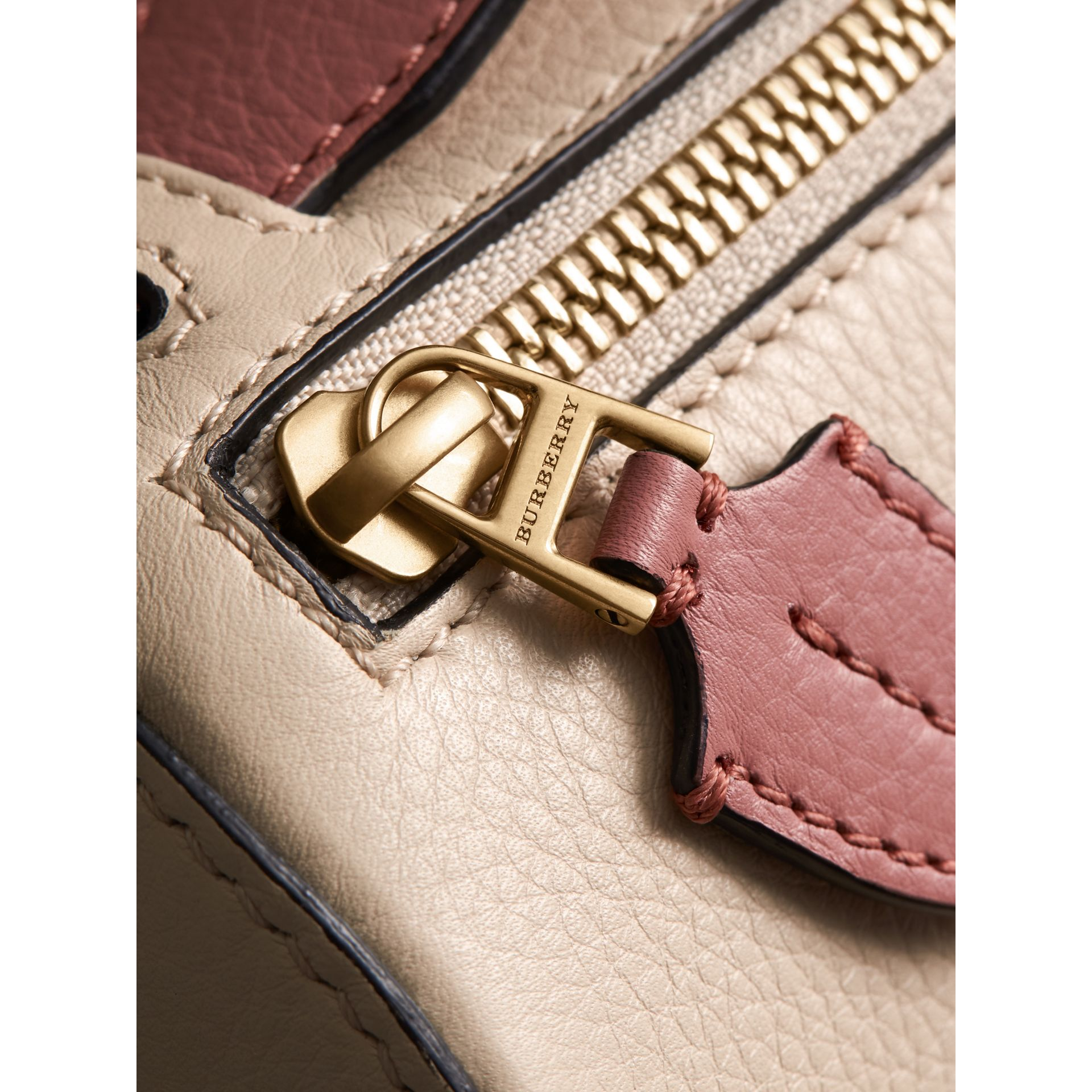 The Leather Barrel Bag in Limestone/dusty Rose - Women | Burberry - gallery image 1