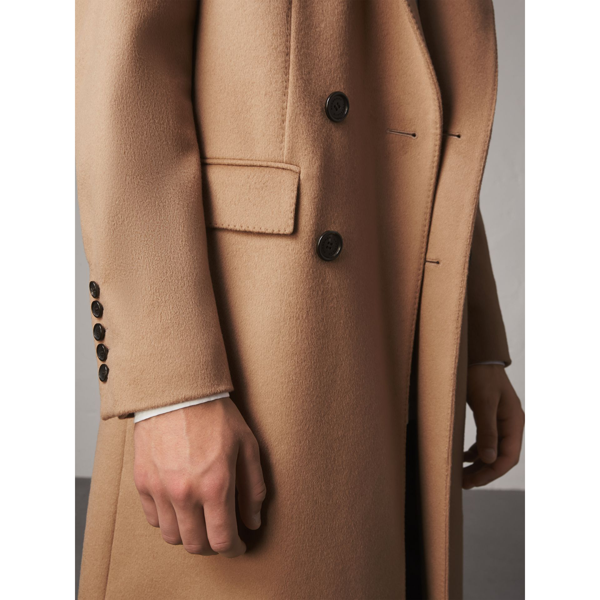 Double-breasted Extra-long Wool Cashmere Coat in Camel - Men | Burberry United Kingdom - gallery image 4