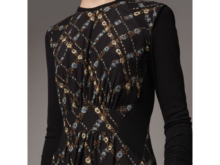 Long-sleeve Lattice Floral Print Silk Gathered Dress in Black - Women | Burberry United Kingdom - cell image 1