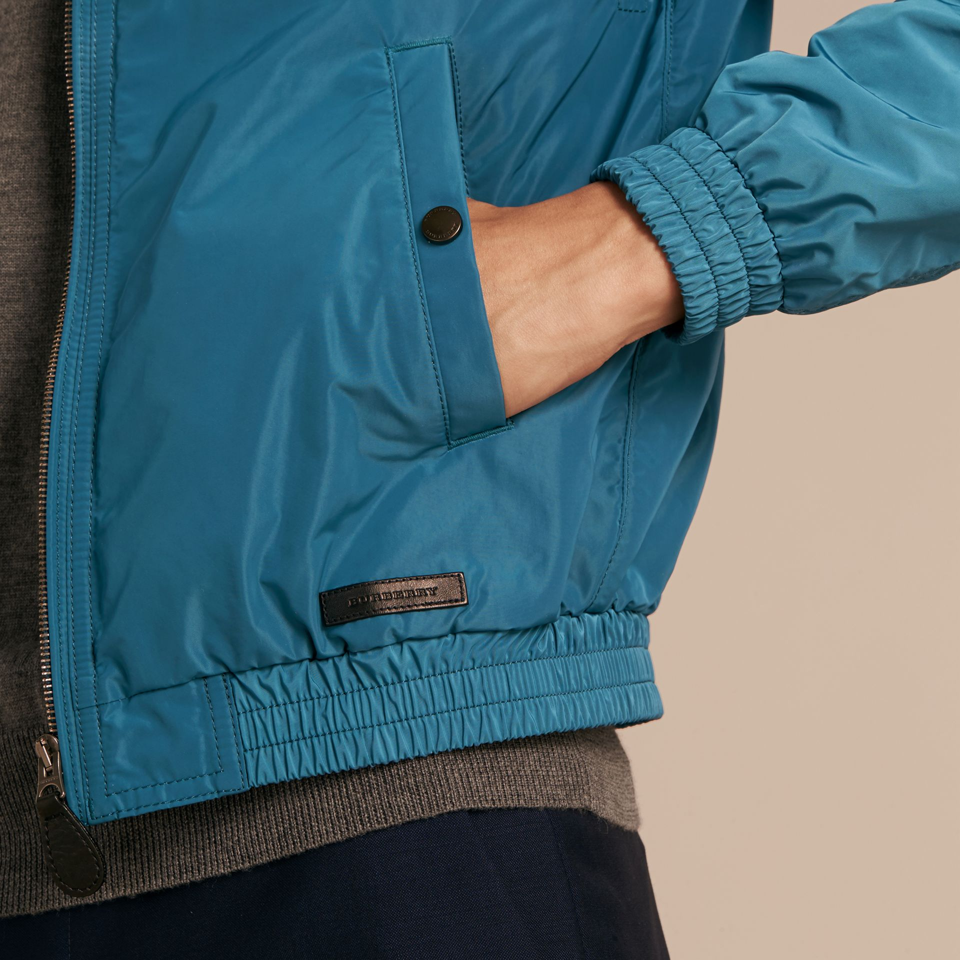 Pale petrol blue Showerproof Bomber Jacket Pale Petrol Blue - gallery image 5