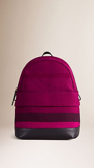 Canvas Check and Leather Backpack